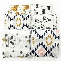 Wholesale 120x120cm baby swaddle newborn baby muslin blanket kids bath towel super soft Panda Tiger Tent Bear Fox design