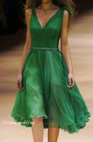 alexander gray - Deep V Neck Emerald Green Cocktail Dress Alexander M Knee Length Chiffon Beaded Formal Party Dress