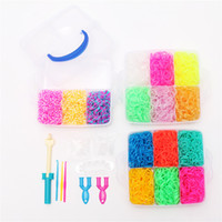 Cheap rainbow loom kit clear plastic box for Kids DIY Rainbow Bracelet -come with 15 colors 5200ps rubber bands free shipping