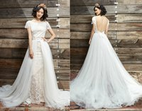 aster pictures - Ivy Aster Lace Wedding Dresses with Detachable Over Skirt Cap Sleeves Mermaid Jewel Neck Scoop Back Tulle Chapel Train Bridal Gowns