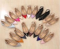 ballerina heels - Plus Size Women Shoes Ankle Strap Flats Rivet Flats Metal Studded Shoe Pointed Toe Flats Genuine Leather Ballerina