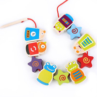 Wholesale Baby Toys Large Size Particles Animals Dress Beads Toy Beech Wood Baby Education Early Learning Wooden Toys Kinds For Choose