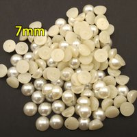 beaded beauty materials - 7mm Half round pearl accessories DIY handmade beaded material nail beauty moble phone shell hair jewelry accessories decoration