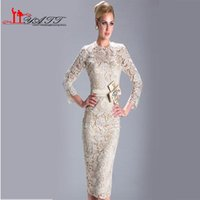 Wholesale 2016 Summer Champagne Cheap Dresses Mother Groom Vintage Middle East Elegant Wedding Party Dress Lace Sleeve Mother Of The Bride Dresses