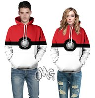 Wholesale 2016 Vintage Pok mon Poke ball printed Hoodies Pocket Monster High street red white hooded Hoodies Sweatshirt PLUS size YQ
