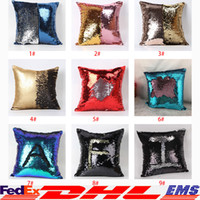 Wholesale Double Sequin Pillow Case Cover Glamour Square Pillow Case Cushion Cover Home Sofa Car Decor Mermaid Bright Pillow Covers Free DHL XL G28