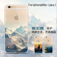apple half - Printed Landscape Flexible Soft Half Transparent Rubber Clear TPU Cover Case For iPhone SE S S Plus inch Free Ship MOQ