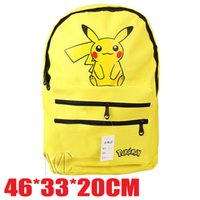 Wholesale Poke backpack bag Pikachu printing canvas schoolbag pocket monster laptop bag Cartoon movie Bag for adult and kids childrens gifts EMSfree