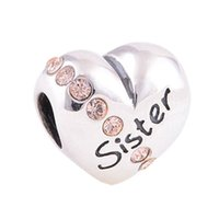 Wholesale Fits Pandora Charms Bracelet Sterling Silver Original Sister Cubic Zirconia Charm Beads DIY Jewelry For Women