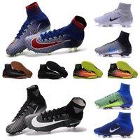 Wholesale 2016 OriGINal high ankle botas de futbol assassin Mercurial CR7 mens soccer shoes IC TF superfly V FG MercURialX ProXImo II cleats