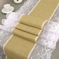 Wholesale 14x108 inch Rustic Natural Brown Burlap Hessian Jute Table Runner with Lace in Edges for Wedding Festival Event Table Decoration