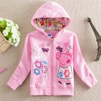 Wholesale girl pink pig coat new arrival girl hooded coat size years old