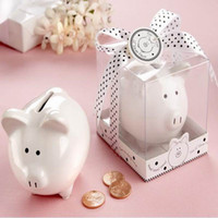 baby shower money - Lovely white ceramic Pig Shape Money Saving Box Coins Penny Cents Piggy Bank baby shower Saving Kids Gift Wedding Favor