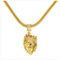 bling jewelry - Mens Hip Hop Jewelry Iced Out K Gold Plated Fashion Rhinestone Bling Bling Lion Head Pendant Men Necklace Gold Filled For Gift Present