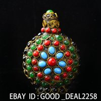 antique tibetan coral - Vintage Handmade Tibetan Turquoise Coral Beads Snuff Bottle A361