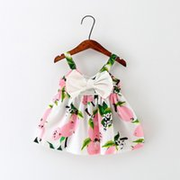 Wholesale 100 Cotton Colors Strap Baby Girl Dress in the Summer with Big Bow Flower Printed