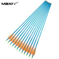 arrow shooting target - 8 mm Blue Shaft Aluminum Arrows12pcs Archery Hunting Arrowheads Changeable For Outdoor Shooting Target Compound Bow E