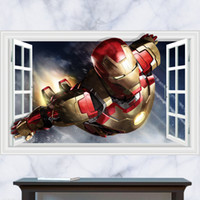 art steel movie - 3D Windows Generic Iron Man Super Man Steel Armor Launch Wall Decal Decor Sticker kindergarten living room vinyl Inspiration art
