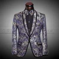 Wholesale Jackets Pants Bow tie Fashion Brand Men Suits Blazers Slim Custom Fit Tuxedo Groom Sequins Prom Wedding Male Singer