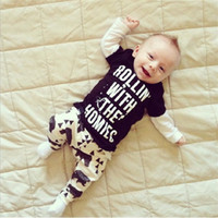american garments - Baby Set Children Clothes Long Sleeves T SHIRT Pant Occident NewBorn Clothing Child Garment Kids Suit Children Costumes T