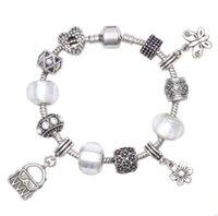 925 perles breloques en argent en forme Bracelets européens Bangle pour les femmes blanches Perles Foil Dangle Charms Serpent Jewelry Chain Link Mode de Noël