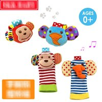 Wholesale 2pcs Soft Baby Toy Wrist Strap Socks Cute Cartoon Garden Bug Plush Rattle with Ring Bell