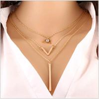 Wholesale Fashion Choker Statement Chain Necklace Multi layers European American Trends Collar bone Gold Triangle Long strip Pendants for Women