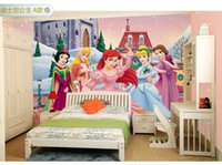 Wholesale Customized Non woven PVC d eco friendly wallpaper cartoon snow white princess bedroom girl living room background gifts home decoration