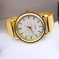 Wholesale Cheap Stainless Gold Watch - Fashion Gold Round Womens Watches High Quality Stainless Steel Automatic Casual Wristwatches for Male & Female Cheap