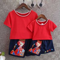 Wholesale 2016 new summer short sleeved T shirt embroidery skirt suit parent child festive red T shirt with embroidered skirt