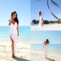 Wholesale Sexy Beach Wedding Dresses Deep V Neck Spaghetti Straps Side Split Bridal Gowns White Chiffon Open Back Sheath Column Summer Cheap Dress