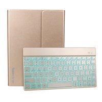 Wholesale Koolertron Slim Colorful Backlit Wireless Bluetooth ABS Keys Aluminum Alloy PU Leather Keyboard Case For iPad Air Teclado