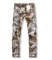 animal print skinny jeans - New Spring Winter New men jeans Pants Skinny Jeans Men brand famous Slim fit Painted Snakeskin Print D Trousers MYA0037