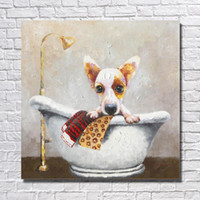 bathtub wall panels - Hand painted Lovely Dog in the Bathtub Oil Painting on Canvas Wall Art Home Decor Modern Living Room Wall Pictures Peices No framed
