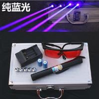 adjustable head pointer - High Power laser pointers mw Adjustable Focus Blue laser pointer laser heads of flashlight glasses Gift box