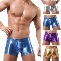 Wholesale Metallic Mens Boxer Shorts PVC Leather Shiny Male Underwear High Elastic Mens Lingerie Pants Gay Club Pole Dance Sexy Boxers