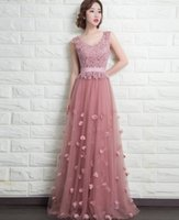 Wholesale Beautiful V Neck Long Formal Evening Dresses With Appliques Rhinestones Hand made Flowers Elegant Party Gowns With Lace up Back C1006