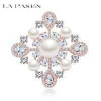 apparel clothing store - LA PASION Jewelry Store Newest Wedding Square Shape Clear CZ Stone with Pearl Brooch Pins for wedding Clothes Apparel accessories