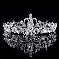 big pearls drops - Hot Selling Cheap The bride go crystal crown crown marriage Crown princess diamond big wreath hair dress accessories