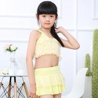 baby chaps - 2016 Korean girls swim wear two piece Splice heart print chiffon Children Baby girl swimsuit tank skirt Pink yellow blue chap