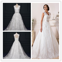 autumn embroidery designs - Lace Wedding Dress New Design Elegant Lace Wedding Dress White Satin Tulle V Neck Hollow Back A Line Wedding Dresses