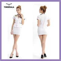 Wholesale Sexy Catwoman Costume White Sex Costumes Short sleeve Sex Costumes Stewardess Uniforms Temptation Stewardess Costumes for Sexy Ladies