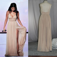 award photos - 2016 American Music Awards Selena Gomez A Line V Neck Split Evening Celebrity Dresses Real image Backless Long Prom Gowns