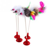 Wholesale 1pcs Funny Pet Cat Toys Feather False Mouse Bottom Sucker Cat Kitten Playing Toys Pet Toy random color