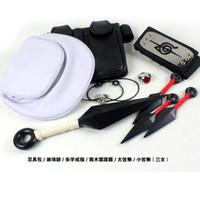 akatsuki ring necklace - Cosplay Naruto Headband shuriken Kunai Uchiha Itachi Akatsuki bag weapons ring necklace Bag Tools weapons set