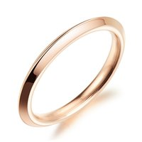 american borders - 2mm Rose Gold Plated Simple Triangle Knife Border Rings in Stainless Steel