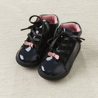 bella shoes - DAVE BELLA Autumn Winter New Arrival children kids baby girl Leather Shoes lace up Bright Black Cute Mid High PU Shoes patchwork warm