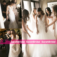 Wholesale Cheap Mermaid Skirts - 2016 Cheap country Two Pieces 2 in 1 Mermaid Wedding Dresses with Removable Long Over Skirt Train Pearls Bridal Gowns Plus Size Cheap