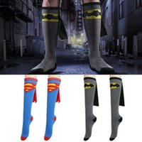 batman socks - Unisex Poke Deathly Football Athletic Sock Pony Superman supergirl Wonder Woman Robin Batman Batgirl Socks Knee High With CAPE women socks
