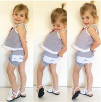 baby diaper shirts - 2016 Ins Baby Girl Clothes Two Piece Sailor Girls Sets Summer Outfits Stripe Vest Tops Shirt Bloomers Shorts Diaper Covers Bowknot Suits